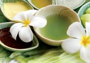 Thai spa herbal and oil with thai flower.